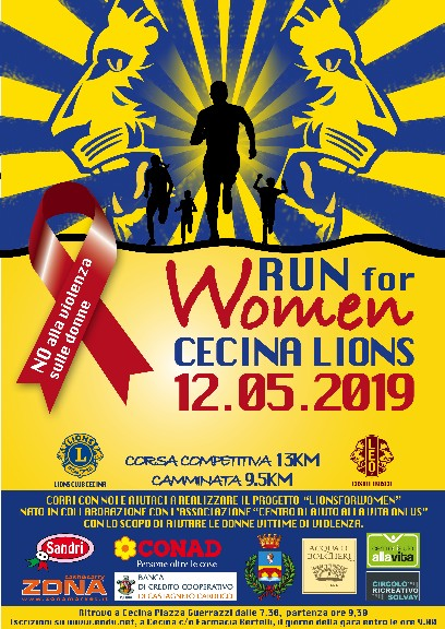 RUN FOR WOMEN - Cecina Lions - 12 Maggio 2019