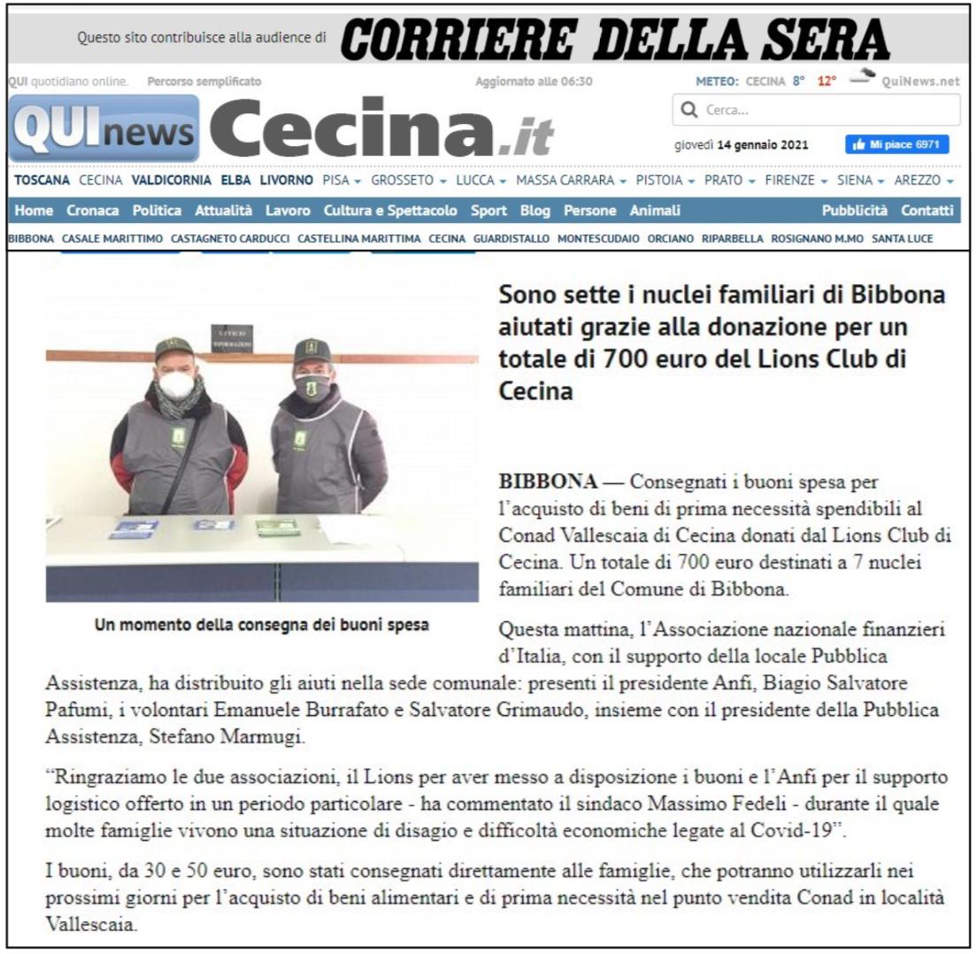 QuiNews Cecina (14 gennaio 2021) – Sono 7 i nuclei familiari di Bibbona aiutati grazie alla donazione per un totale di 700 euro del Lions Club di Cecina