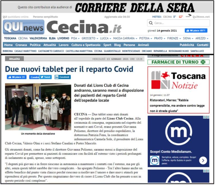 Qui News Cecina - Due nuovi tablet per il reparto Covid
