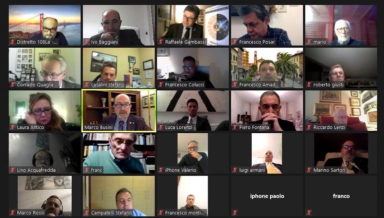 """Il Lions Club Cecina incontra """"online"""" il Governatore del Distretto 108LA Marco Busini"""